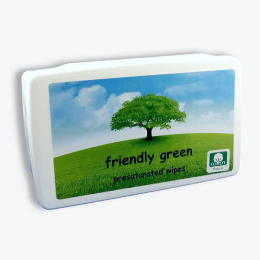 Friendly green presaturated wipes